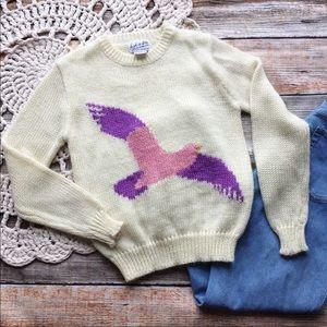 Vintage Sweaters - Vintage Huk-A-Poo Intarsia Knit Bird Sweater